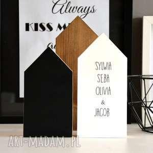 personalizowane domki, domek, drewniany, drewno, tablicowy, imię