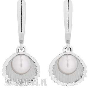 sotho srebrne kolczyki z muszelkami i perłą swarovski® - wiszące