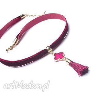handmade naszyjniki choker burgund /chwost/ - naszyjnik