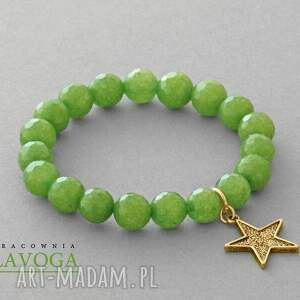 jade with star pendant in green - gwiazdka, jadeit