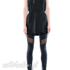 legginsy - czarne z tiulem, elastyczne, wygodne,