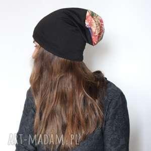 czapka dzianina czarna mała prawie dziecięca, czapka, etno, kolor, dresowa, smerfetka