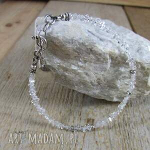 irart diament herkimer - delikatna bransoletka 437, srebro oksydowane, kryształ
