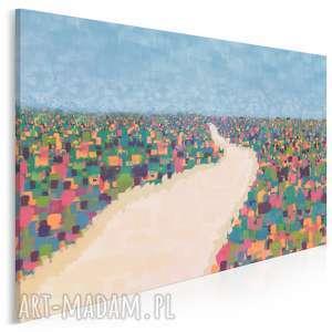 obraz na płótnie - pole kolorowy abstrakcja 120x80 cm 93001, pejzaż