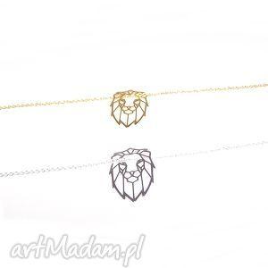 Naszyjnik LEW, kot, srebro, złoto, łańcuszek, zwierzę, celebrytka