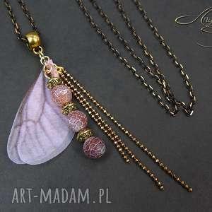 wisiorki angelo wisiorek kamień agat trawiony i skrzydła, wisiorek, naszyjnik