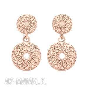 kolczyki z medalionami z różowego złota sotho - złocenie