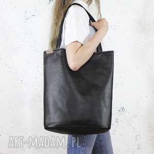 Shopper xl torba czarna na zamek prosta vegan ramię hairoo