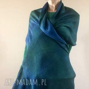 handmade szaliki szal lniany morski