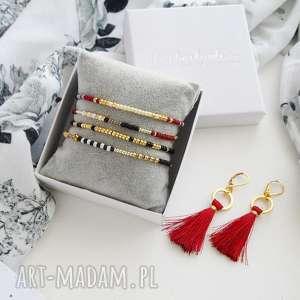 ultralekkie kolczyki boho - burgund, kolczyki, styl boho, modna biżuteria
