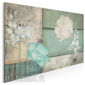 obraz na płótnie - kwiaty zielony vintage retro 120x80 cm 69701, kwiaty