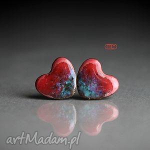 owocowe serca, sztyfty, wkrętki, kamionka, ceramika, plamki kolczyki biżuteria