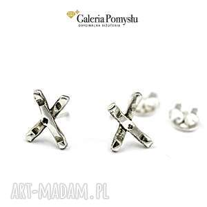 Srebrne iksy, sztyfty, wkrętki, srebro, 925, minimalizm