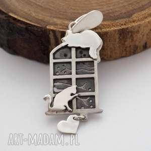jachyra-jewellery wisior kotki w oknie - romantyczny, vintage