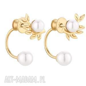 złote kolczyki gałązki z perłami swarovski® crystal