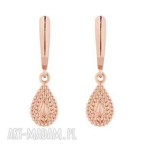 kolczyki z różowego złota łezkami - różowe kolczyki
