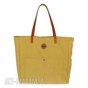 bardzo duża torba z kieszonkami miodowa, torba, pojemna, wytrzymała, na