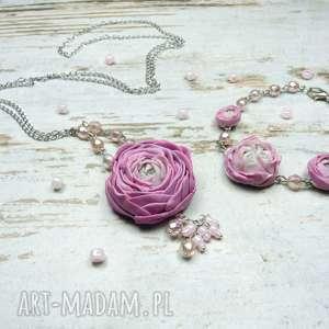 Prezent Komplet biżuterii piwonie , piwonie, kwiaty, lato, prezent, komplet, fimo