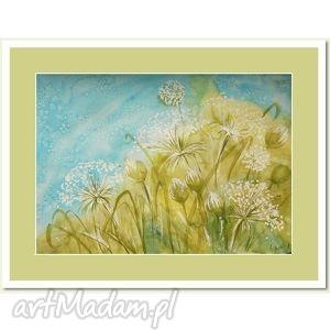 obrazy polne kwiaty, akwarela 40 30 cm - akwarela, obraz