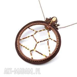 handmade wisiorki brązowy, czekoladowy wisior - łapacz snów