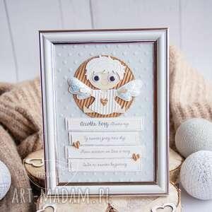 ramka z aniołkiem stróżem oraz modlitwą narodziny, roczek, chrzest, i komunia
