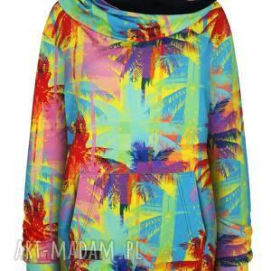 handmade bluzy wiosenna bluza kangurka unisex z mega dużym kapturem w palmy