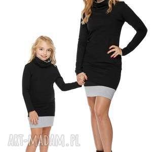 Mama i córka Sukienka dla córki LD1/1, sukienka, dresowa, komin, sciągacz, komplet