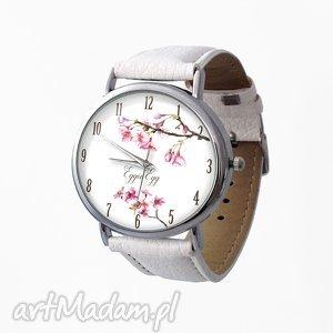 kwiat wiśni - skórzany zegarek z dużą tarczą - zegarek, skóra