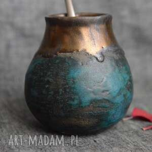 Yerba mate w orientalnym turkusie ceramika ziemia zu yerba, mate