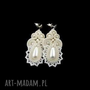 kolczyki soutache lace pearl, sutasz, soutache, ślubne, koronka, koronkowe, ivory