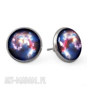 nebula - kolczyki sztyfty egginegg - wkrętki, prezent, galaxy