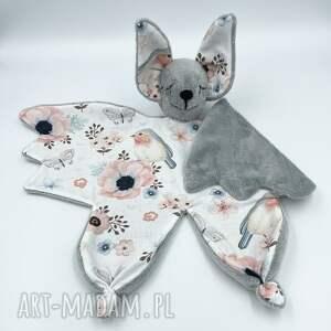 przytulanka nietoperz dla niemowląt, kocyk, gryzak, sensoryczna, minky, szmatka