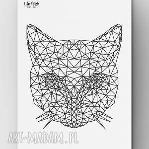 Kot outline, kot, grafika, poster, plakat, dom, wnętrze