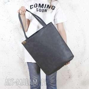 shopper xl torba grafit na zamek / prosta vegan, tote, klasyczna