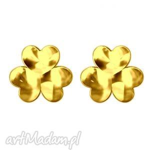 złote kolczyki koniczynki, modne, kobiece, koniczyna, sztyfty