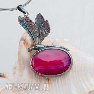 a508 ważka z różowym agatem naszyjnik - naszyjnik, srebrny, elegancki