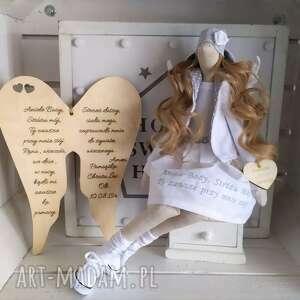 Anioł lalka na pamiątkę chrztu pierwszej komunii lalki