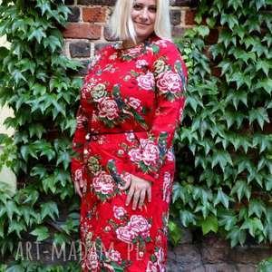 Prezent Len z bawełną sukienka w kwiaty, sukienka, len, bawełna, duża