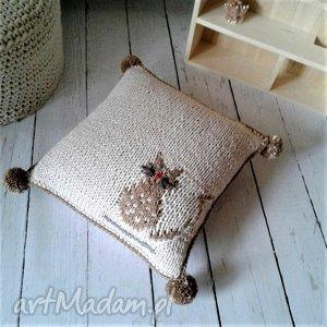 pokoik dziecka dziergana poszewka - kotek, poszewka, poduszka, wełniana