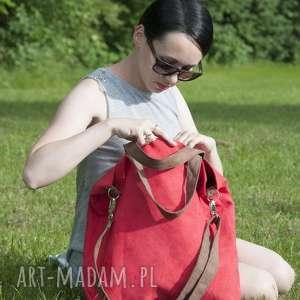 handmade na ramię torba hobo xxl - czerwień, brąz