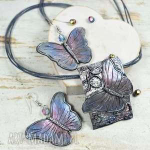 komplet biżuterii motyle
