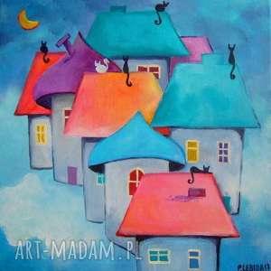 obrazy obraz na płótnie - bajkowe miasteczko format 25/25 cm, domki, czerwień, fiolet