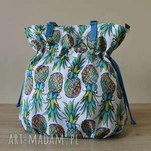 na ramię shopper bag sack - tęczowe ananasy, hobo, sack, worek, wakacje