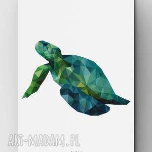 Żółw A3, plakat, grafika, żółw, zielony, lowpoly, design