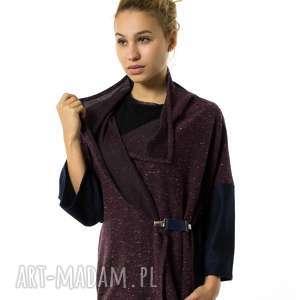 ręcznie wykonane ubrania narzutka wełniana kardigan | soprabito burgund