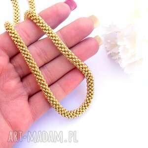 naszyjniki naszyjnik koralikowy w złocie, toho, beading, koralikowy, sylwester, złoty