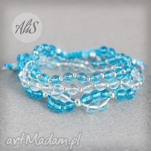 hand-made bransoletki niebieskie szkło