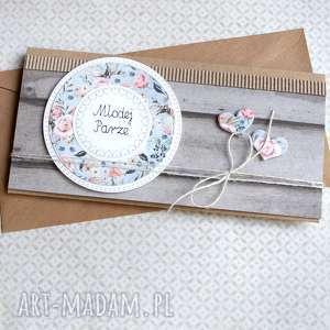 hand-made kartki kartka - kopertówka ślubna: rustic wood