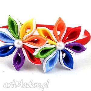 kolorowy komplet do włosów dla dziewczynki - opaski, opaska, gumki