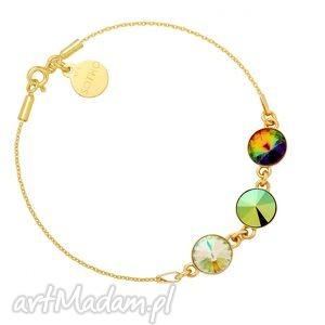 złota bransoletka z trzema kryształami swarovski crystal, swarovski, łańcuszek